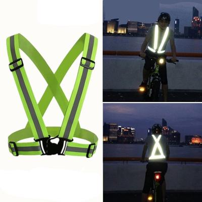 Bicycle Light New Unisex Outdoor Cycling Safety Vest Bike Ribbon Bicycle Light Reflecing Elastic Harness For Night Riding Running Jogging Cycling