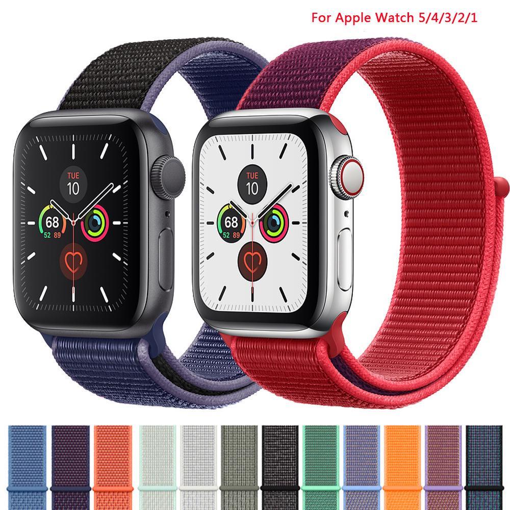 Ремешок для Apple Watch 44mm 40mm 42mm 38mm iwatch Series 3 2 1 Нейлон Спорт Loop Watchband Браслет