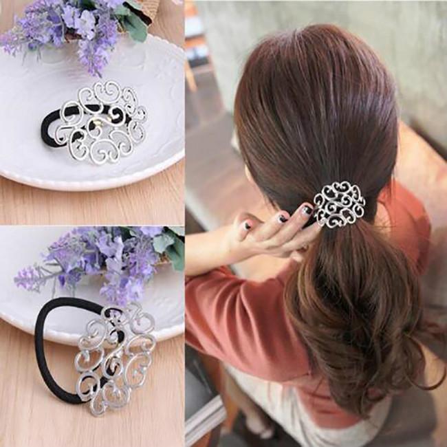 Волосы галстук аксессуары полой цветы волос веревки кольцо хвост держатель девочек упругих волос резиновых полос фото