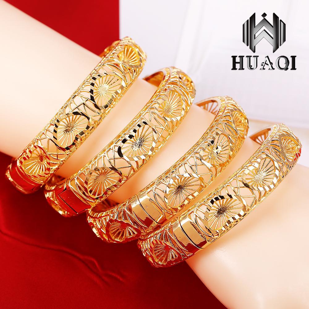 HUAQI 1PCS 24K Gold Bangle Jewelry Duabi Gold Bangles&Bracelets Jewelry Women Gift