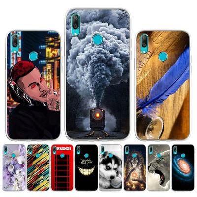 Case For Huawei Y7 2019 Cases Cover Huawei Y7 2019 Soft Silicone Painted Cartoons Black Back Cover For Huawei Y7 Prime 2019 DUB-LX1 DUB-LX3 6.26 Inch