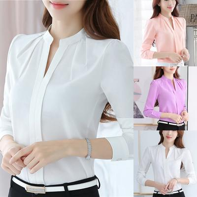 Suda Women Brief Office Work Wear V Neck Shirts Long Sleeve Casual Tops Blouse