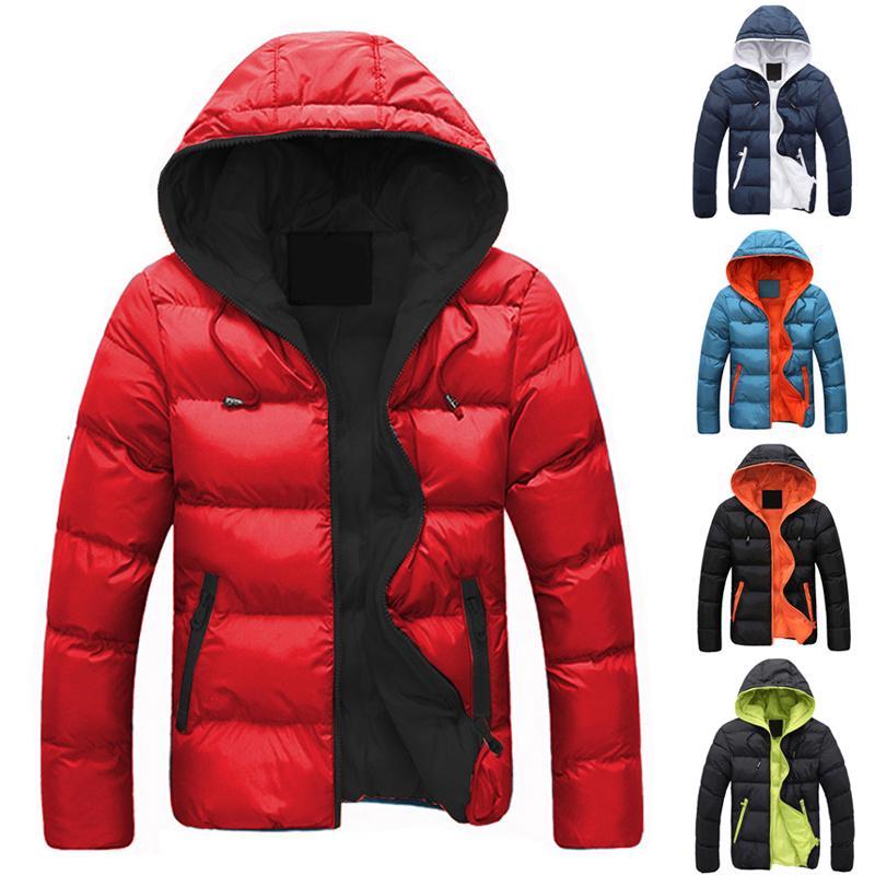 Зимние мужчины Случайные куртка с капюшоном Длинные рукава вниз пальто Outwear Топы Ветрозащитный Открытый Циппер – купить по низким ценам в интернет-магазине Joom