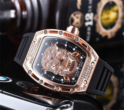 Top Luxury Quartz Watches Stainless Steel Case 6 Pin Seconds Rubber Band Wristwatch Male Clock Relogio Masculino