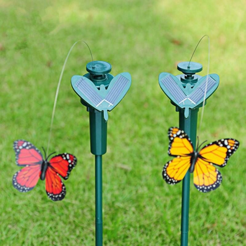 3 x Vibration Solar Power Dancing Flying Fluttering Butterflies Garden Decor