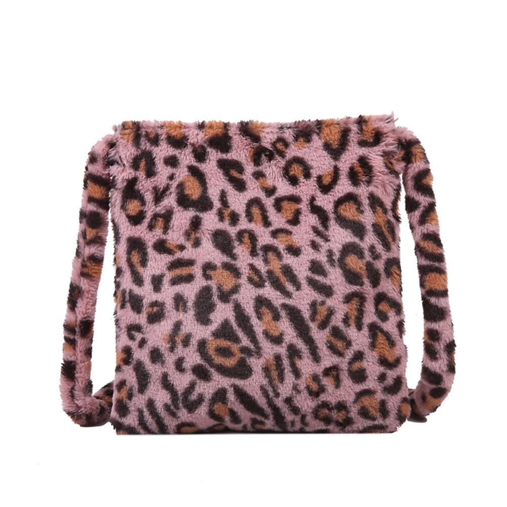Fashion Leopard Crossbody Handbag Women Plush Casual Tote Shoulder Messenger Bag