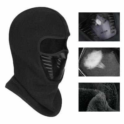 Men black Outdoor Windproof Motorcycle Under Helmet Thermal Ski Fleece Face Mask