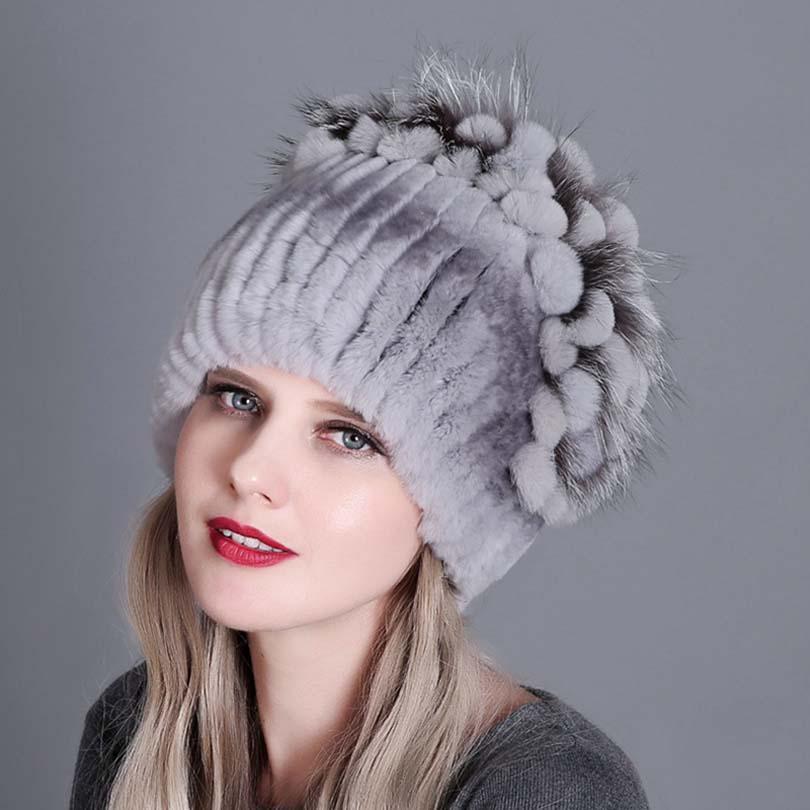 Mujeres caliente piel sombrero Natural Rex conejo zorro auténtico ... 13a2cddd6a3