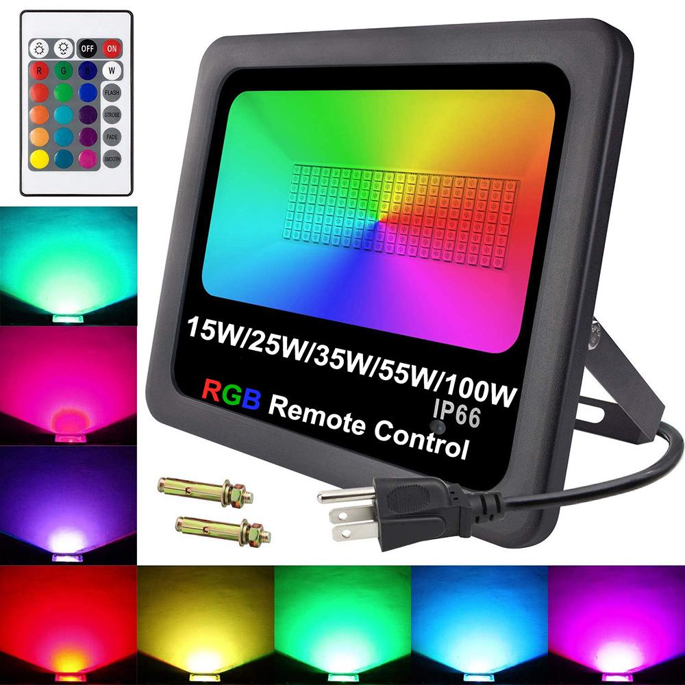 100W RGB LED Flood Light Reflector Security Outdoor Spot Lamp Remote Control
