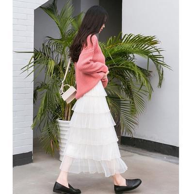 3747e96114e Вивиан плиссированные сетки торт юбка осенью и зимой женщин в новой высокой  талией пушистые юбка