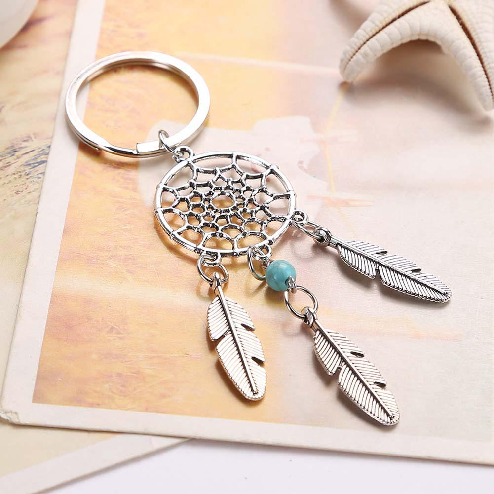 Natural stone Dreamcatcher Tassel pendant keyring jewelry feather charm keychain