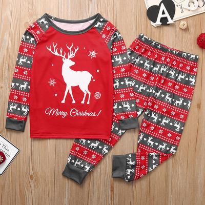 2PCS Toddler Child Kid Baby Boy Christmas Print Long Sleeve Top Pants Pajama Set