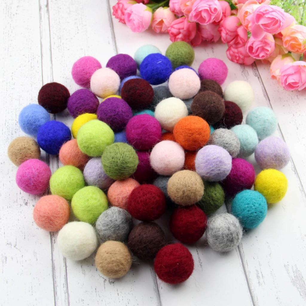 20mm 25 Wool Felt Balls Colorful 2cm Wool Felt Pom Poms