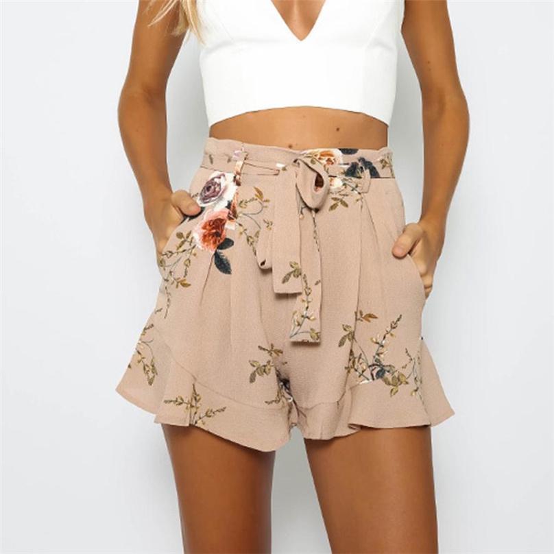 爆款印花高腰短裤女 欧美夏季新款女装热裤