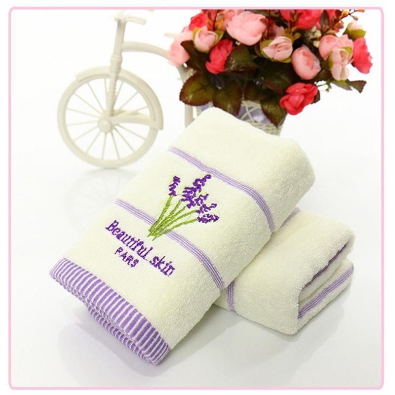 Cotton Embroidery Lavender Aromatherapy Soft Bath Hand Face Towel Sheet Set DSB1