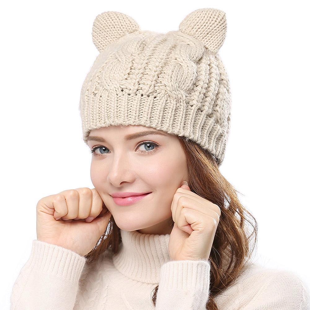 Moda sombrero Gato oído Crochet mujer trenzado Twist gorras de punto ...