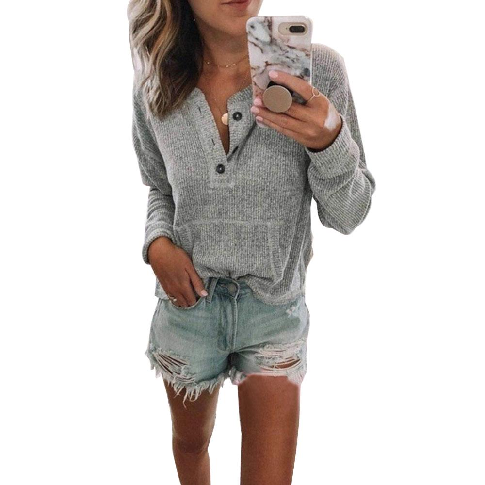 Womens V Neck Henley Shirts Pocket Ribbed Long Sleeve Button Down Tops Casual Loose Fit Tees