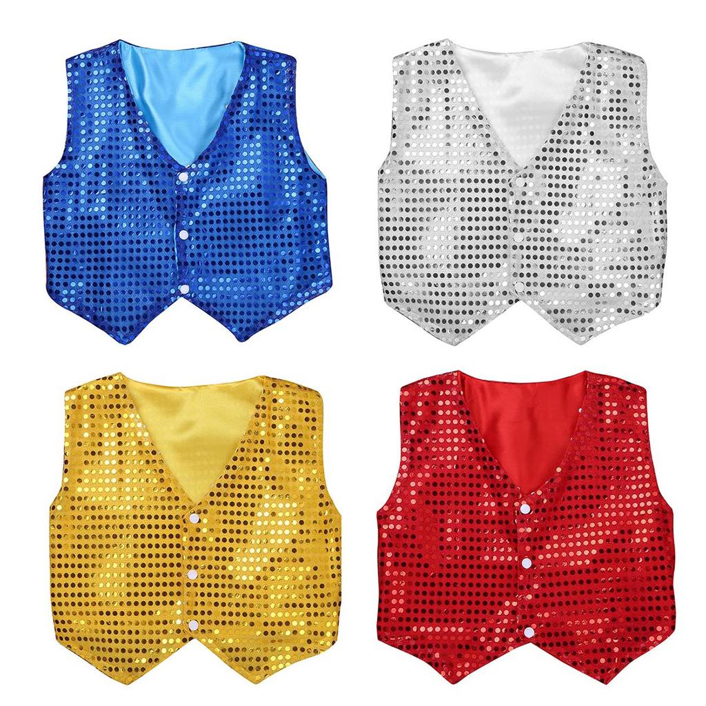 Kids Boys Glittery Sequins Long Sleeve Collar Shirt for Choir Jazz Dance Stage