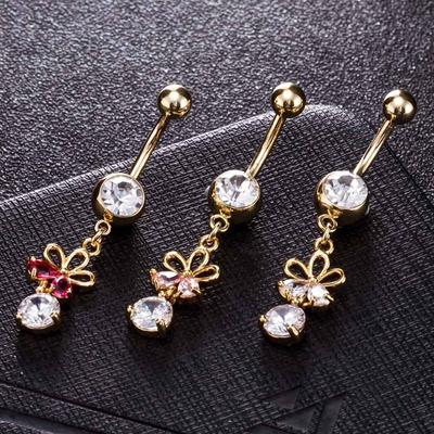 Body Piercing Hollow Out Hanging Pendant Zircon Crystal Navel Belly