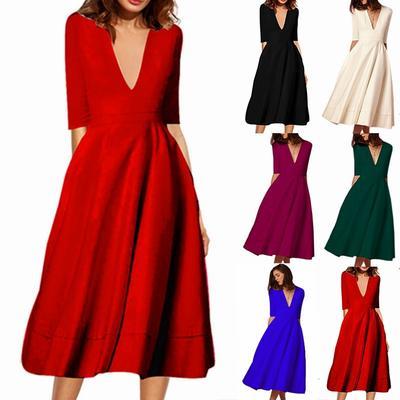 6a8d7104701 Элегантных женщин платье глубокий V шеи Midi линии Vestido свадьба плюс  размер зимних качели сарафан
