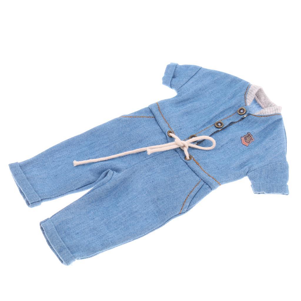 1//6 BJD Accessory Light Blue Denim Romper Jumpsuit Clothes for Dollfie YOSD