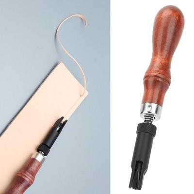 V Type Leather Grooving Tool Leather Processing Groover Wood Handle Craft Gouge Tools for Wooden Leather Craft