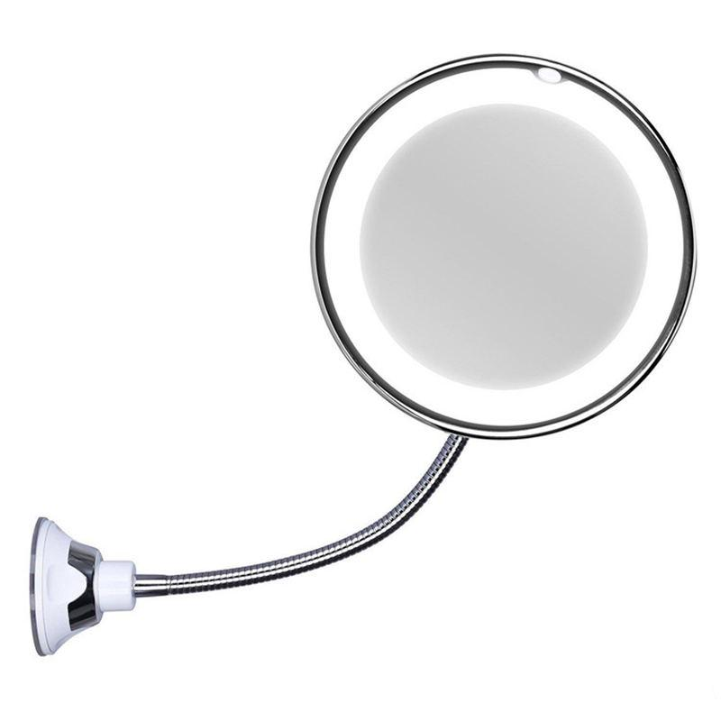 10x Magnifying Led Lighted Makeup, Suction Magnifying Mirror For Bathroom