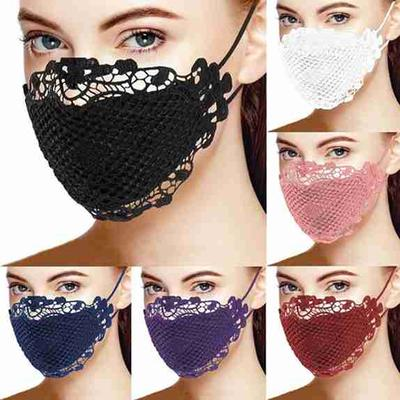 Women Fashion Reusable Face Mask Mouth Mask Charming Stylish Brief Solid Lace Mouth Mask