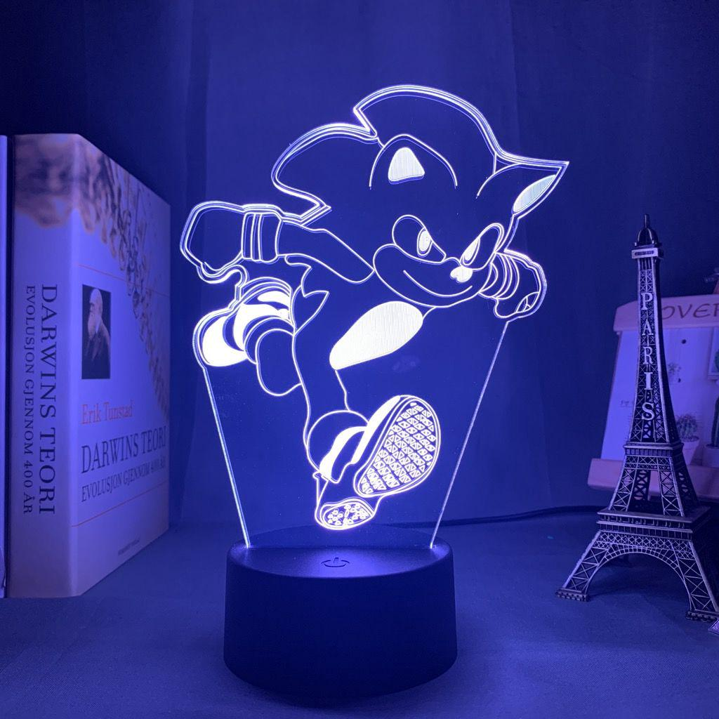 SONIC SEGA HEDGEHOG 3D Illusion Night Light 7 Color Chang Lamp Table Best Gift