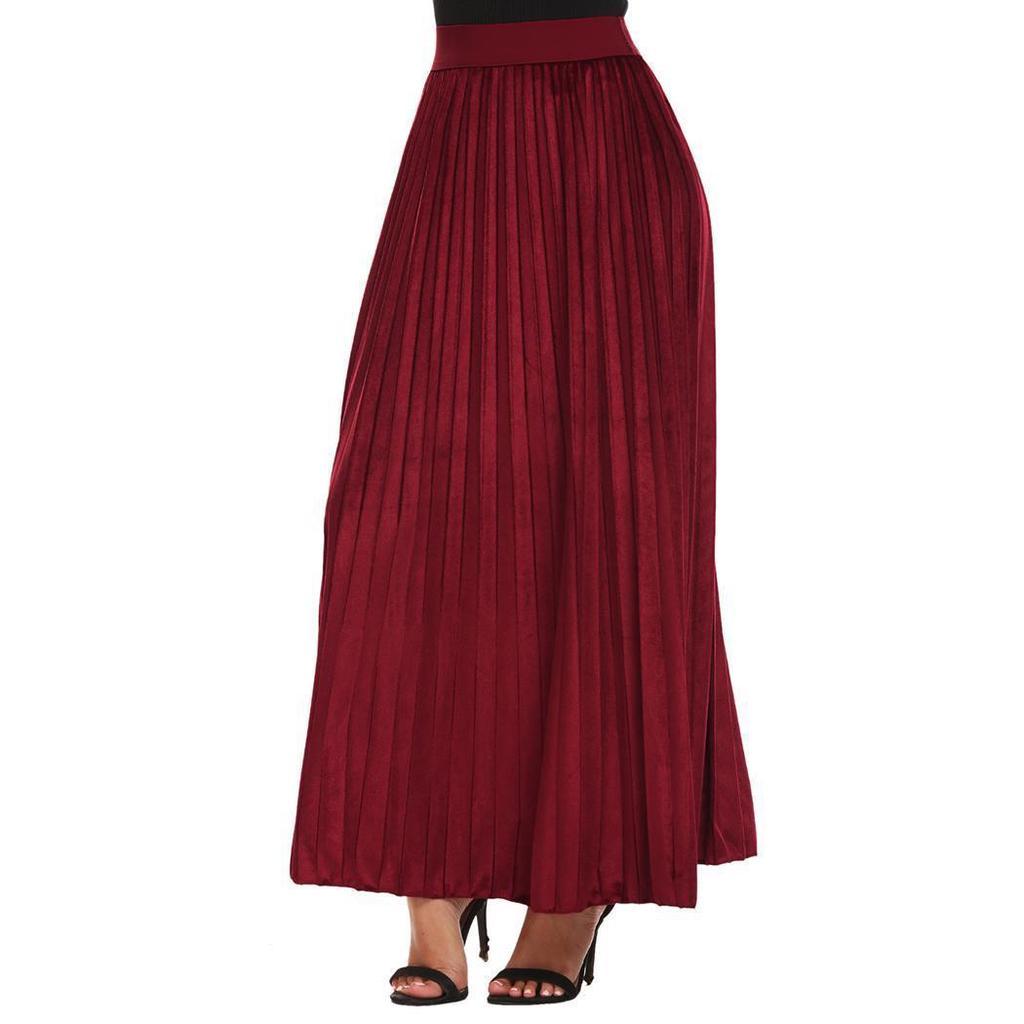 3ddc52b74205 Falda larga plisada cofan cintura alta de mujer terciopelo sólido casual  maxi