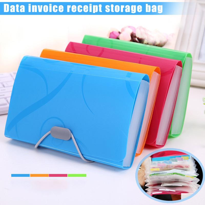 Folder Office File 8 Organ Bag Multi-Layer Insert Test Paper Storage Bag Invoice Receipt Bill File Bag Test File Color : Blue