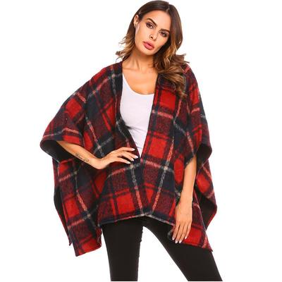 IEason Womens Cloak Shawl O Neck Irregular Long Sleeve Plaid Tops