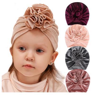 Hat Baby Velvet Turban Knot Headwraps Warm Beanie Cap Children Headbands