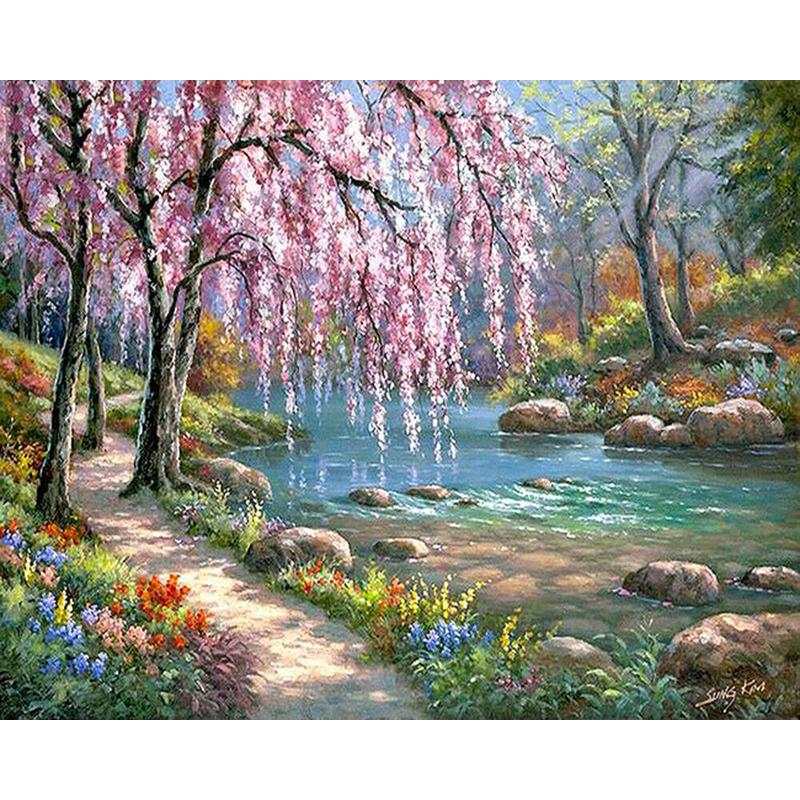 Painting By Numbers Kit DIY Landscape Hand Painted Canvas Oil Art Picture
