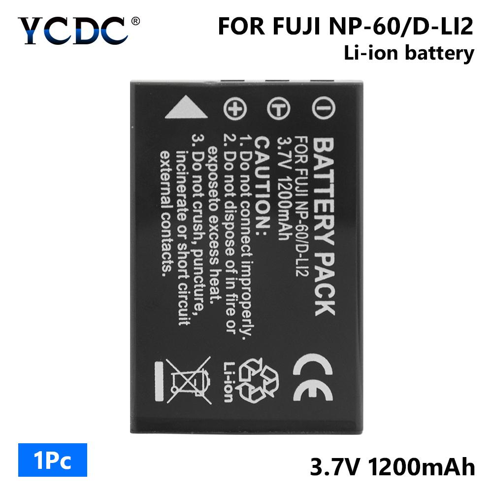 1200mAh 3.7V Lithium-Ion Replacement for Creative NP-60 Battery 2 Pack Charger Compatible with Creative NP-60 Digital Camera Battery and Charger