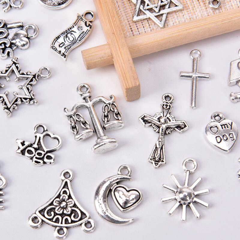 25-100Pcs Wholesale Silver Plated Exquisite Cross Spacer Charm Pendant Craft DIY