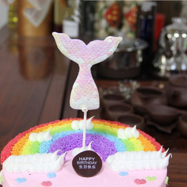 Sequins Mermaid Tail Cake Banner Insert Toppers Wedding Birthday Party Decor