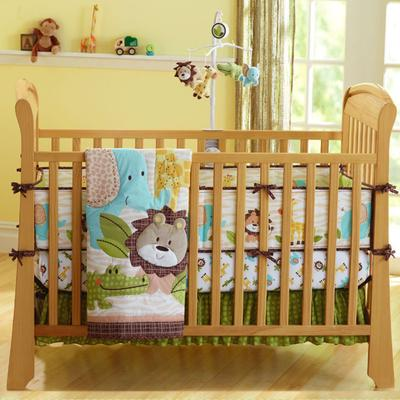 6Pcs Baby Bedding Crib Bumper Cot Set Soft Baby Sheet Pillow Blanket
