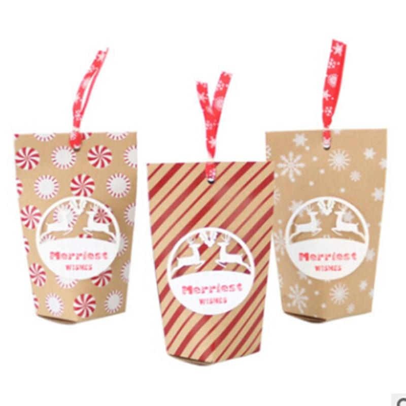 24pcs Christmas Candy Bags Kraft Paper Christmas Packing Pouch for Party Home