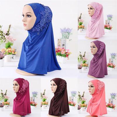 Elegant Muslim Hijab Scarf Ladies Headwear Long Appliques Islamic Turkish  Floral Clothing Headscarf