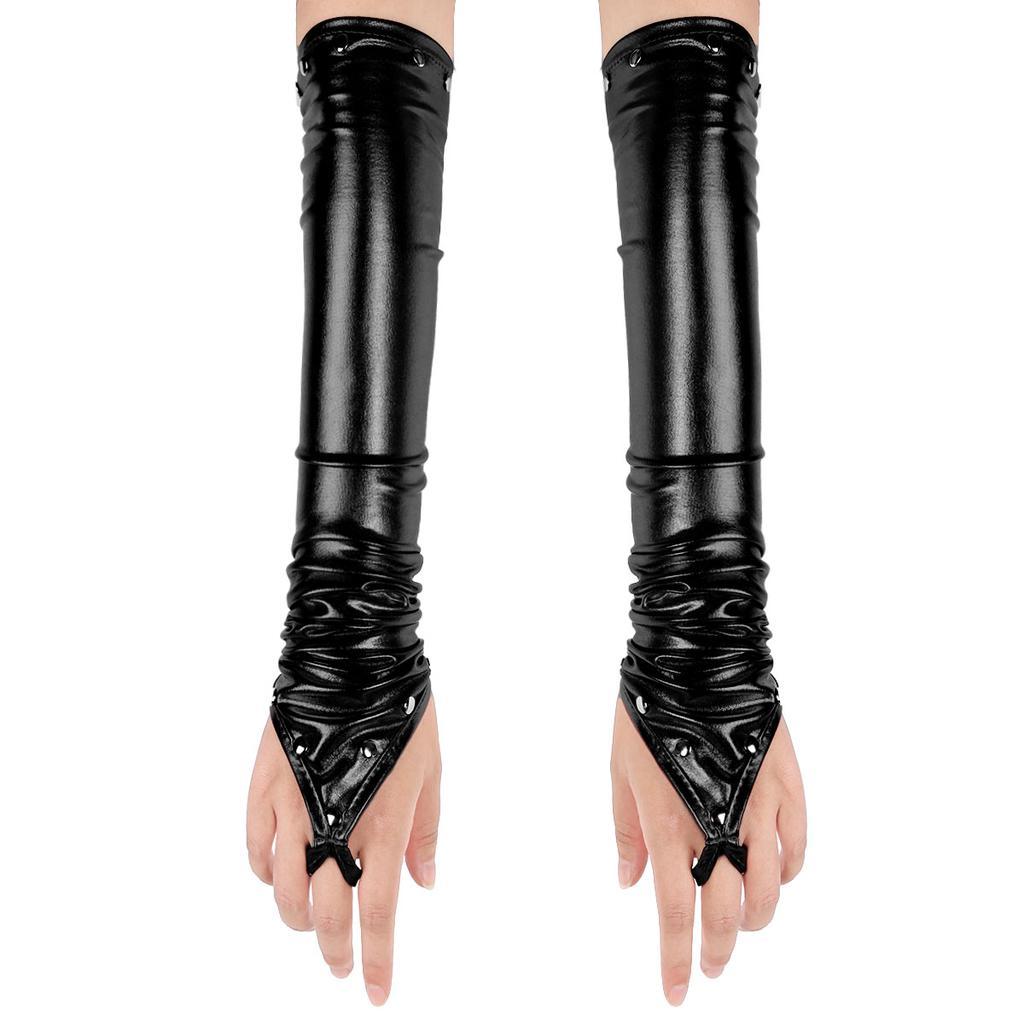 Women Gloves See Through Mitten Sun Protection Costume Dance Wetlook Club Wear