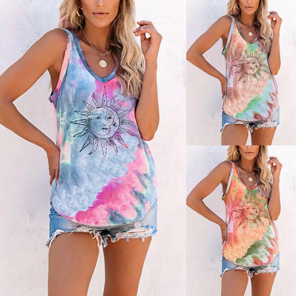 Ladies Womens Summer Sleeveless Flower T-Shirt Vest Casual Tank Tops Blouse Tee