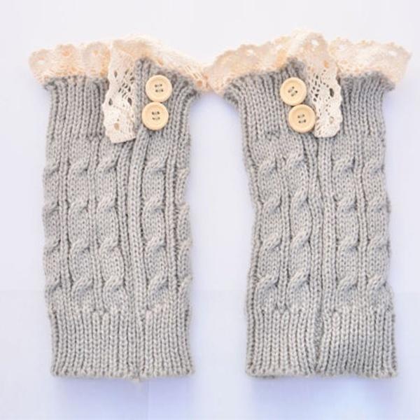 Mujeres Crochet punto encaje Trim arranque puños acolchados pata ...