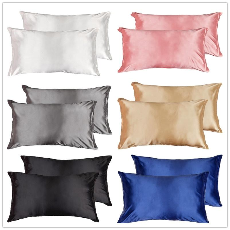 Standard Queen Velvet Satin Silk Pillowcase Pillow Case Cover Home Bedding 2020