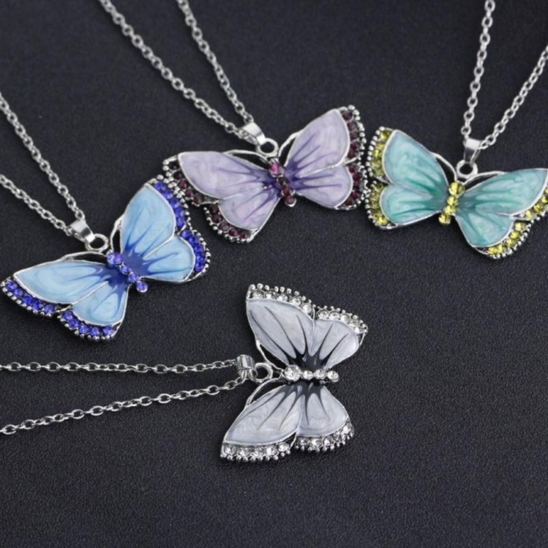 Vintage gemalt Diamant Schmetterling Halskette Legierung long Pullover Modekette