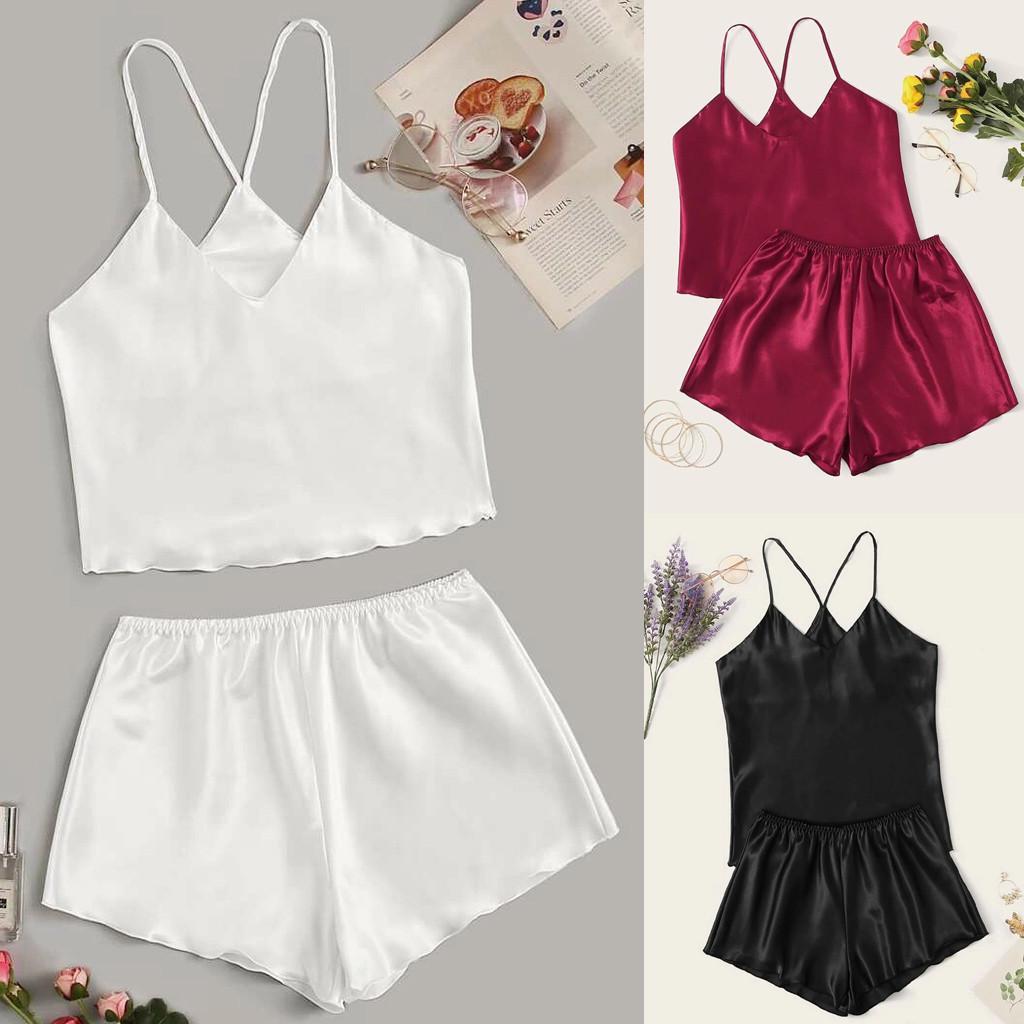 Spring Women Sexy-Lingerie Sleepwear Satin Silk Babydoll Nightwear Pajamas Set