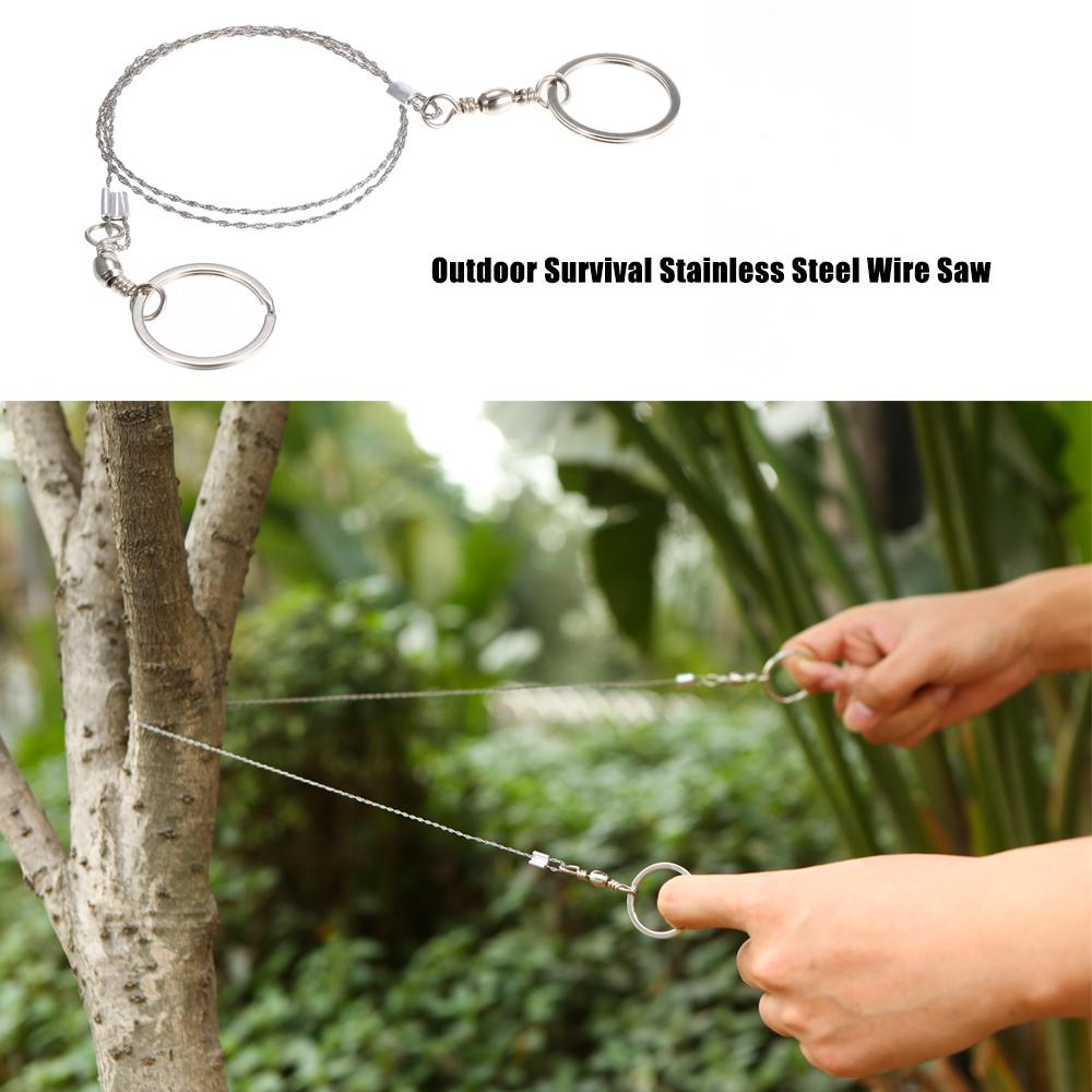 Emergency Wire Saw Hiking Camping Stainless Steel Travel Survival Gear Tool BT
