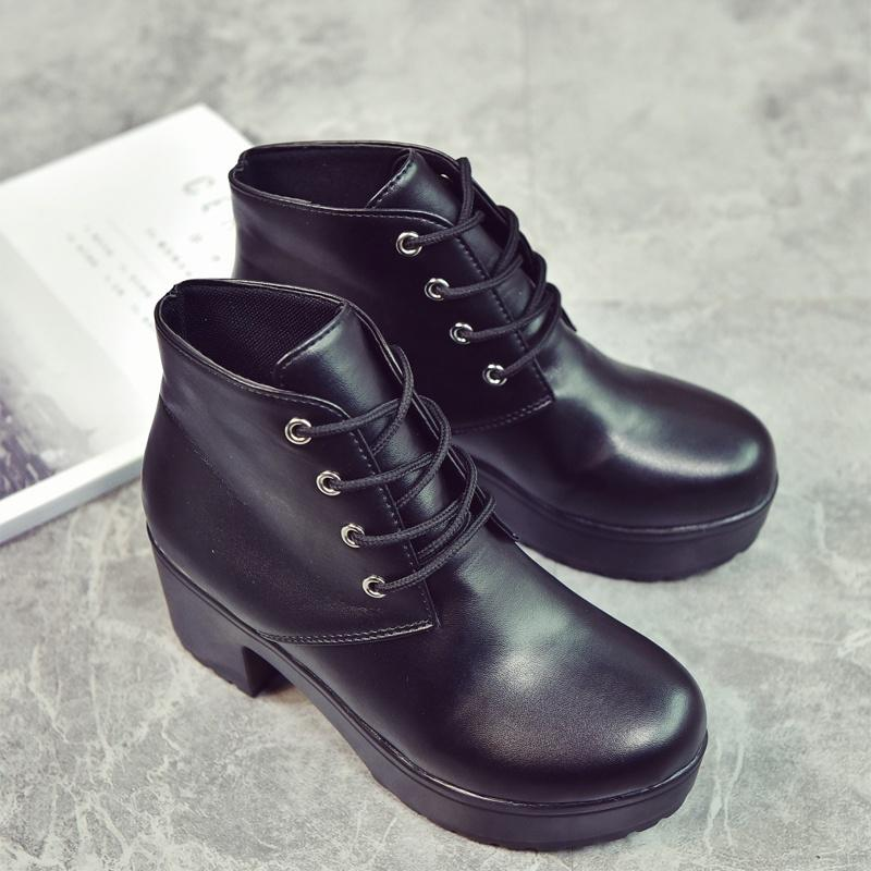 Punk Womens Patent leather Chunky High Heel Lace Up Platform Party Ankle Boots