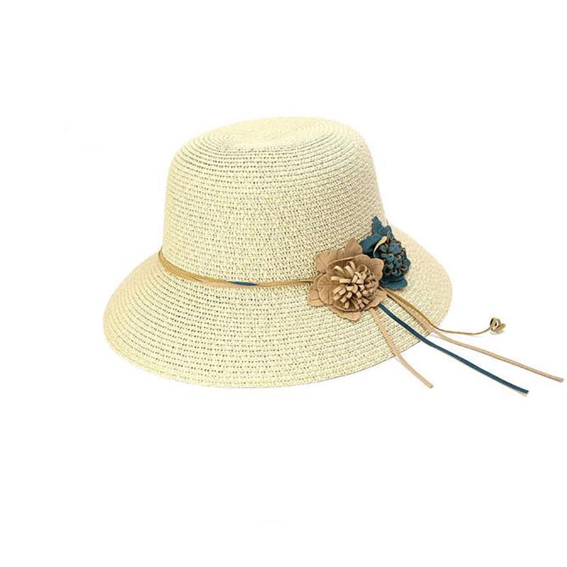Sombrero exterior cuero arco sombrero de paja protector solar playa ...