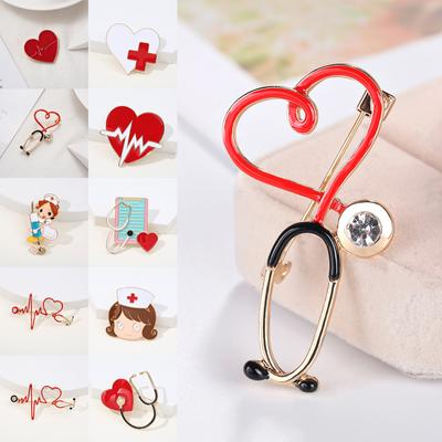 Medical Medicine Brooch Pin Stethoscope Electrocardiogram Heart Shaped Pin Nurse Doctor Backpack Lapel Jewelry
